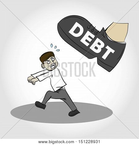 Oppressed by Debt. Scared Men. Illustration. Isolated.