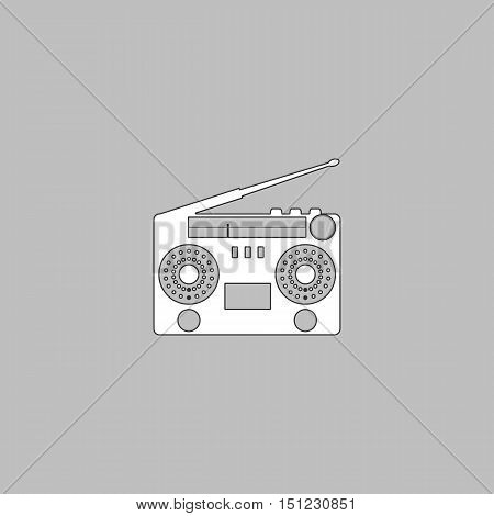 boombox Simple line vector button. Thin line illustration icon. White outline symbol on grey background