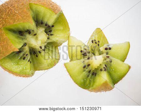 Close up fresh kiwi fruit on white background, sweet and sour taste