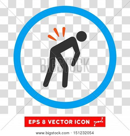 Rounded Backache EPS vector icon. Illustration style is flat icon symbol inside a blue circle.