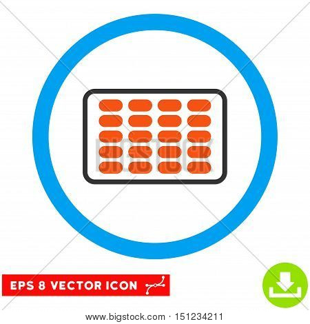 Rounded Blister EPS vector pictograph. Illustration style is flat icon symbol inside a blue circle.