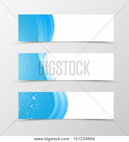 Set of banner blue design. Blue banner for header with drops. Design of banner in blue wave style