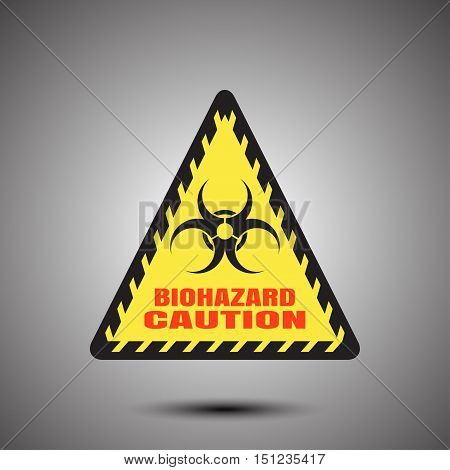 Biohazard - vector poster with triangle label on the gradient gray background.