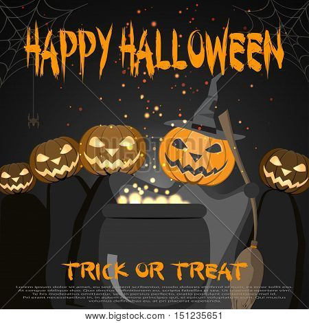 Vector poster to Happy Halloween with magic cauldron.