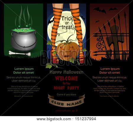 Halloween night backgrounds with jack-o'-lantern, full moon, cemetery, magic cauldron and sexy witch legs in striped stockings. Vector poster template