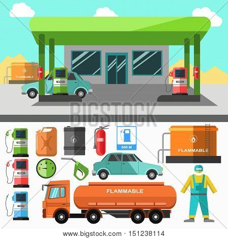 Gas station icons. Refueling symbols gasoline pump and oil, diesel and energy, canister automotive fuel and petrol. Flat design. Vector illustration isolated on white background