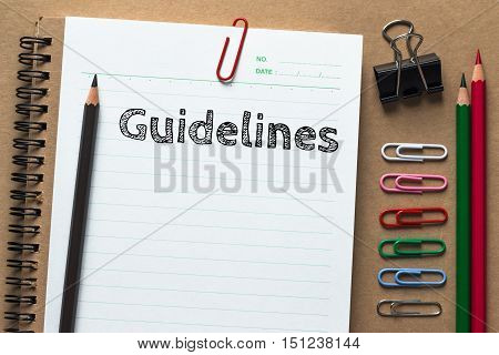 Text guidelines on white paper background / business concept