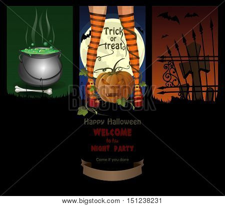 Halloween night backgrounds with jack-o'-lantern, full moon, cemetery, magic cauldron and sexy witch legs in striped stockings. Vector brochure