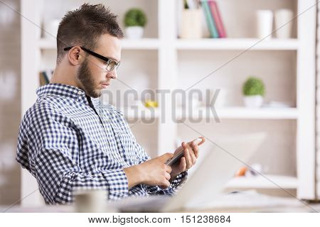 Attractive Man Using Cellular Phone