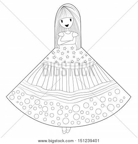 A little doll in a dress smiling.