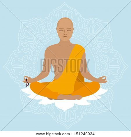 Tibetan monk in an orange robe. Novice yoga. Buddhist in lotus position. Vector illustration