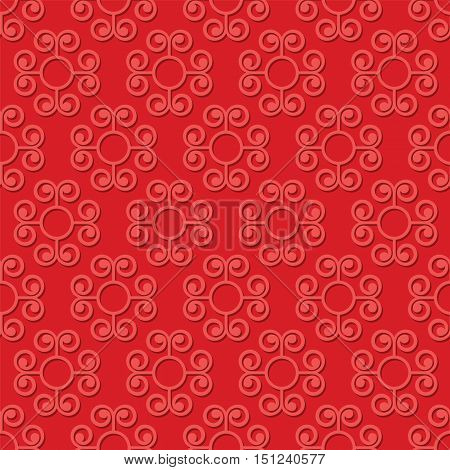 Abstract swirly red seamless pattern vector background