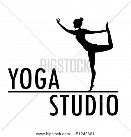 Yoga logo template. Fitness studio design. Young woman practicing asana. EPS 10 vector.