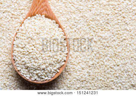 White sesame. Sesame seed in spoon. Sesame background. Organic natural sesame.