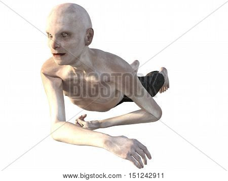 one man. Bald and frail. Crawling on the floor. He creeps close to the left of the camera. 3D rendering, 3D illustration