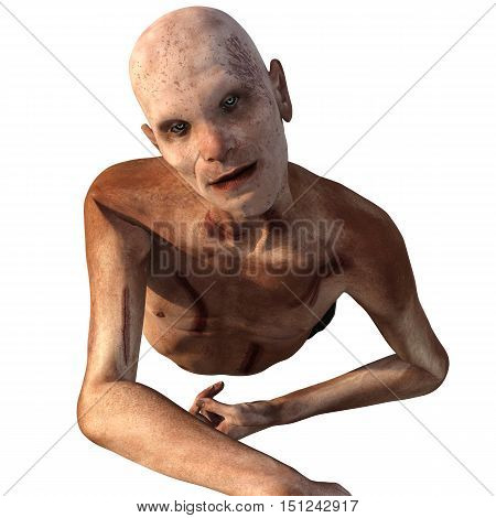 old, bald, weak zombies. In blood and cuts. He creeps close forward of the camera. 3D rendering, 3D illustration