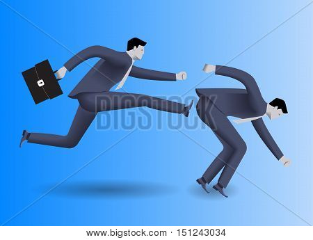 Tough competition business concept. Confident businessman in business suit with case in his hand kicks his stumbled opponent to clear his way. Concept of competition rivalry win and loose.