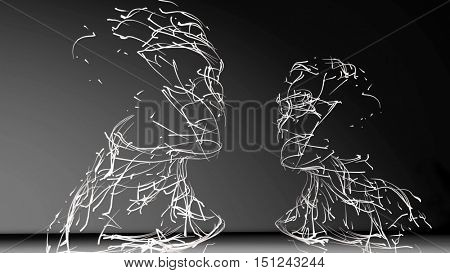 Abstract conceptual composition - two people face to face. Made of meshes. 3D rendering.