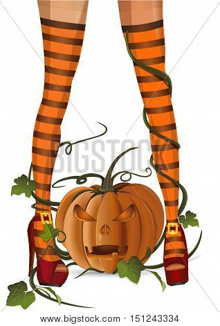 Closeup sexy witch legs in striped stockings on a background of jack-o'-lantern. Vector illustration