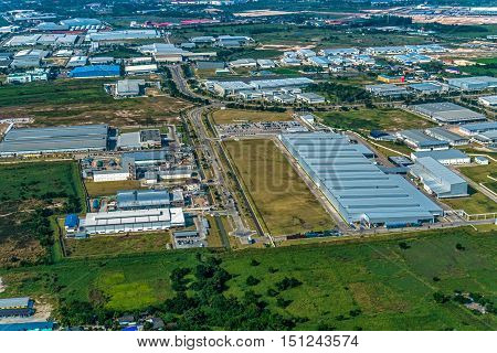 Industrial estate land development aerial photo view