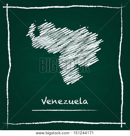 Venezuela, Bolivarian Republic Of Outline Vector Map Hand Drawn With Chalk On A Green Blackboard. Ch