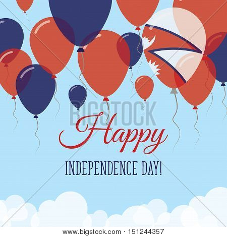 Nepal Independence Day Flat Greeting Card. Flying Rubber Balloons In Colors Of The Nepalese Flag. Ha