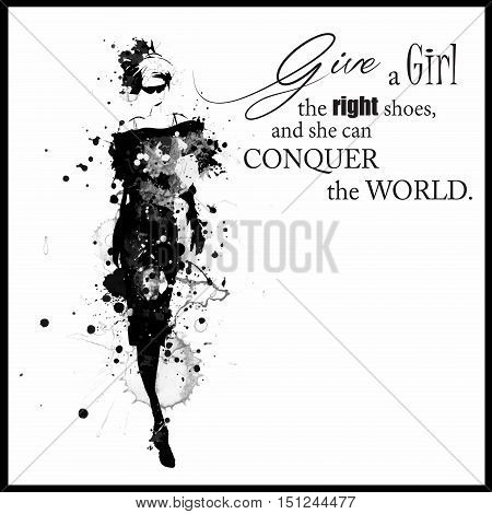 Fashion quote with modern girl in a dress. Grunge fashion. Vector art.