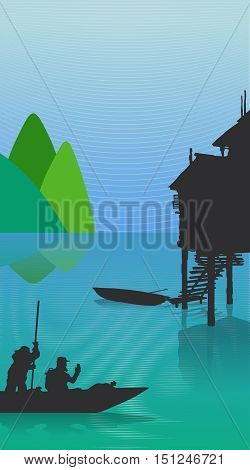 Vector color landscape mountains sea fishing boats and houses on stilts. Character tourist sailing in a boat in the lake sea ocean. Boat Mountain Sea .Vetnam Thailand China.