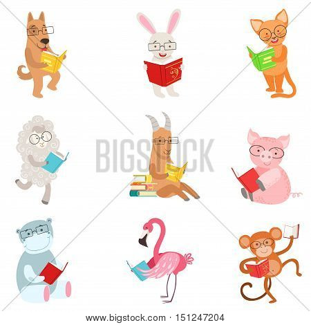Funny Animal Characters Reading Books Set. Childish Cartoon Style Humanized Animals Vector Stickers Isolated On White Background.