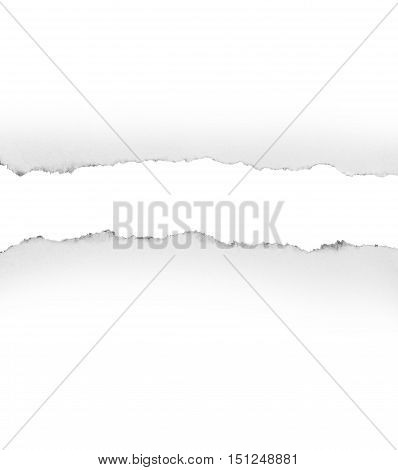 white torn paper isolated over white background , space for copy