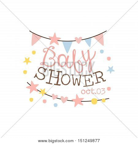 Baby Shower Invitation Design Template With Garlands. Calligraphic Vector Element For The Newborn Party Postcard.