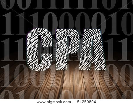 Business concept: Glowing text CPA in grunge dark room with Wooden Floor, black background with  Binary Code