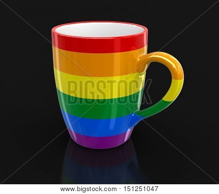 3D Illustartion. Gay Pride color cup. Image with clipping path