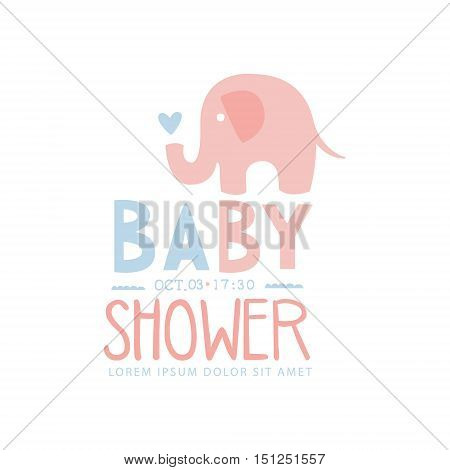 Baby Shower Invitation Design Template With Toy Elephant. Calligraphic Vector Element For The Newborn Party Postcard.
