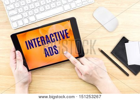 Finger Click Screen With Interactive Ads Word With Keyboard On Wooden Table,food Business Design Con