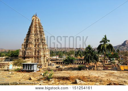 Virupaksha temple at blue sky in Hampi Karnataka India