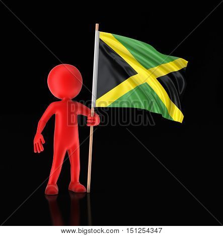 3D Illustartion. Man and Jamaican flag. Image with clipping path