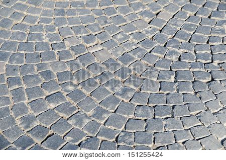 view of gray Cobbled street for background or texture