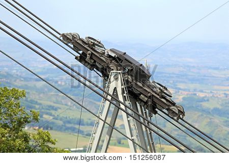 Thick Steel Cables And Pulleys For The Cableway