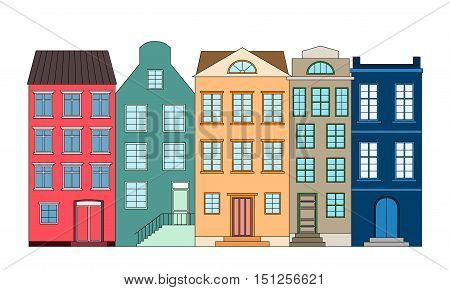 Row of color bright houses, vector illustration
