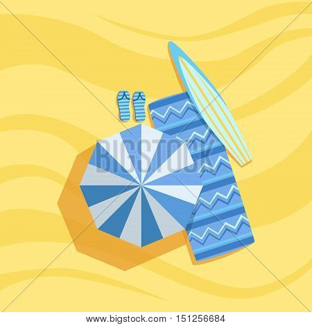 Surfboard, Flip-Flops And Umbrella Spot On The Beach Composition. Place On The Sand With Vacation Attributes From Above Bright Color Vector Illustration.