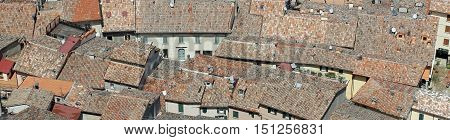 Glimpses Of Roofs Of Crowded House A Village In Europe