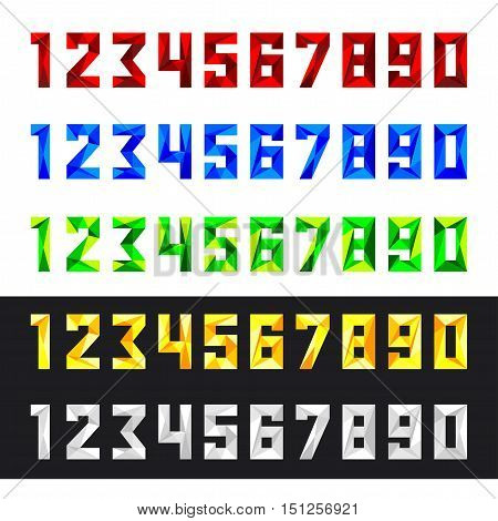 Figures 1 2 3 4 5 6 7 8 9 0 in vector format. Set of numbers from 0 to 9 in polygonal style. Numeric set in five colours - red blue green yellow white