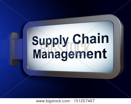 Marketing concept: Supply Chain Management on advertising billboard background, 3D rendering
