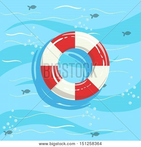 Classic Life Preserver Ring Buoy With Blue Sea Water On Background. Beach Vacation Related Illustration Drawn From Above In Simple Vector Cartoon Style.