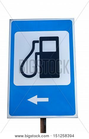 Petrol filling station sign isolated white background