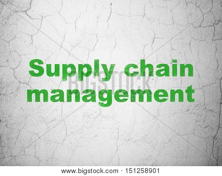 Marketing concept: Green Supply Chain Management on textured concrete wall background
