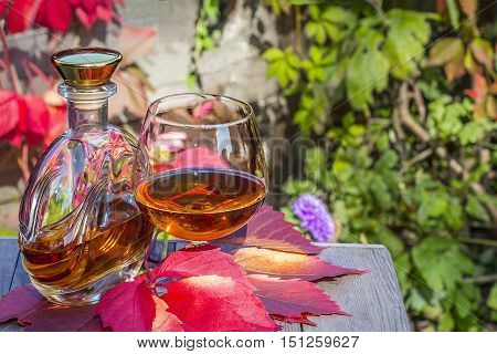 Bottle and a snifter of brandy on the old table in autumn garden's