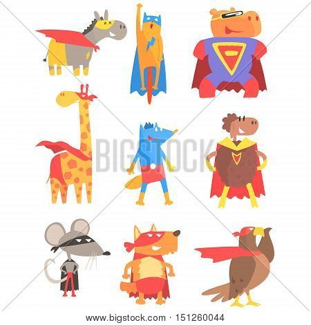 Animas Dressed As Superheroes Set Of Geometric Style Stickers. Comic Illustrations In Flat Stylized Design Isolated On White Background.