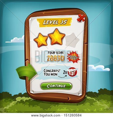 Illustration of a funny cartoon design wood score board with medicine kit bonus and golden stars for game ui and apps on tablet pc
